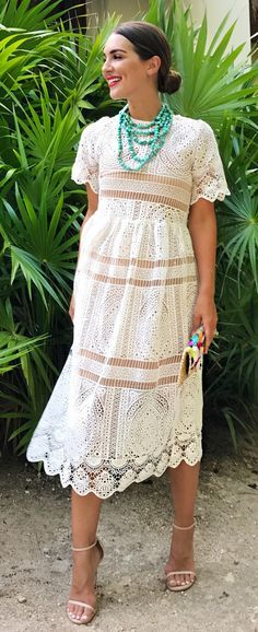 Throw it back with this classic shift dress silhouette boasting fall-ready crochet lace. With Your Ingenuity Crochet Dress in White featured by carriebradshawlied Blog