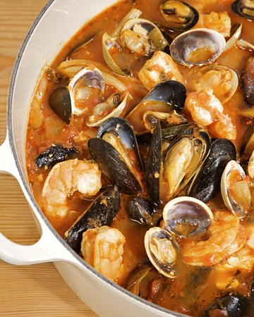 Cioppino Brian's family makes this every year for Christmas. It is a huge mess and worth the afternoon to make it and 2 hrs to clean it up.