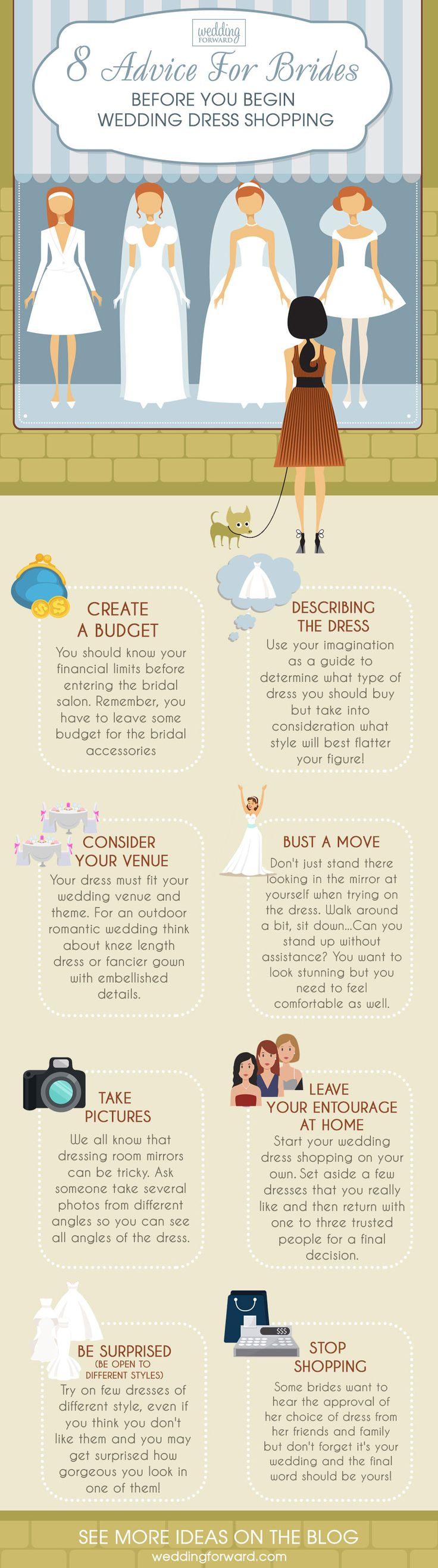 12 Wedding Dress Infographics To Make Your Shopping Easier ❤️ The most useful wedding dress infographics that will help you to make the right choice. Advice before your start wedding dress shopping. See more: http://www.weddingforward.com/wedding-dress-infographics/ #wedding #dresses #infographics