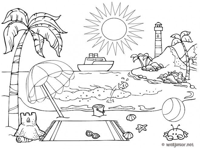 10 Simple Coloriage Paysage Plage Gallery Hello Kitty Colouring Pages Hello Kitty Coloring Coloring Books