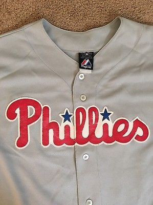 Phillies #34 LEE Jersey by Majestic Genuine MLB Merchandise Size 52 2XL Gray GUC  | eBay