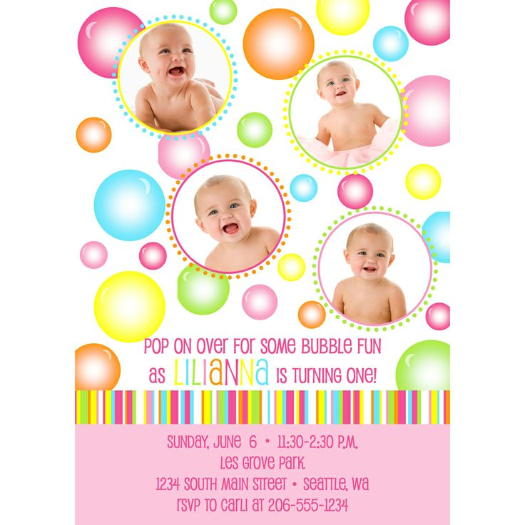 Bubbles Birthday Party Invitation - Dimple Prints Shop