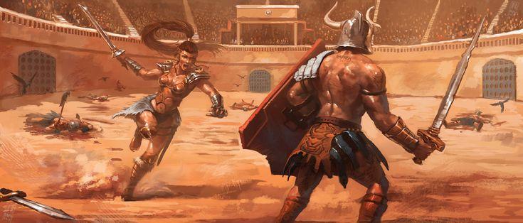 Gladiatrix, Raph Lomotan on ArtStation at https://www.artstation.com/artwork/gladiatrix