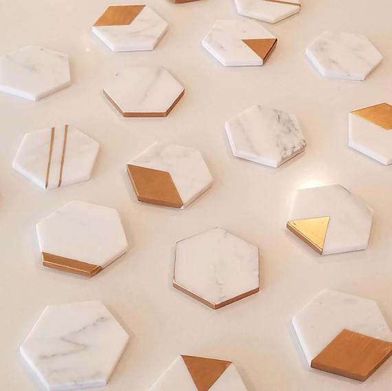 Marble Coasters Hexagon Coaster Set Of 12 Gift Idea