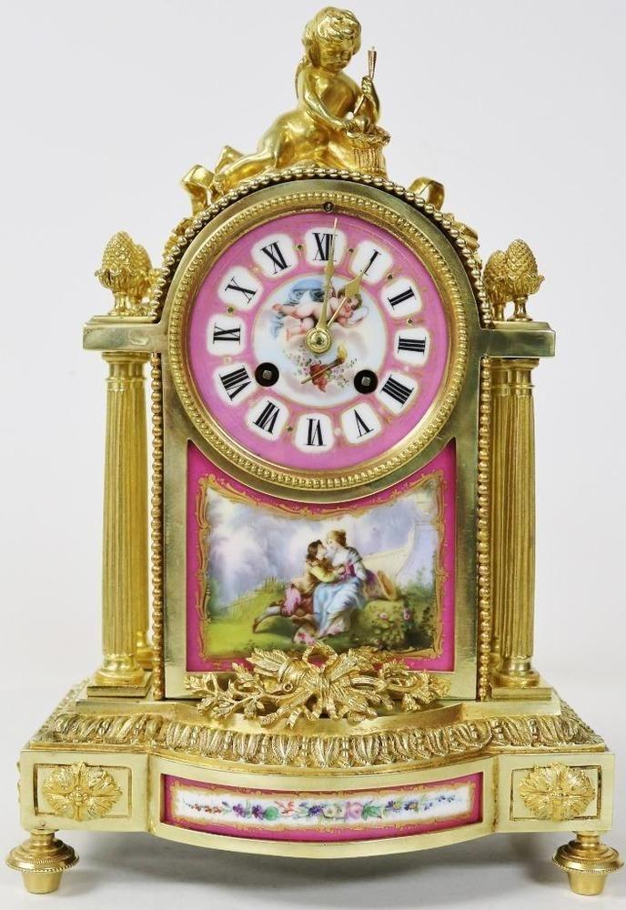 Spectacular Antique Bronze Ormolu Pink Sevres Cherub 8 Day Striking Mantel Clock Ebay Antique Clocks French Mantel Clock Mantel Clocks