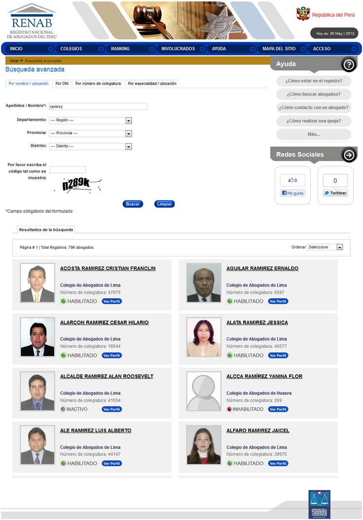 Registro Nacional de Abogados del Perú.   Proyecto de Mejoramiento de los Servicios de Justicia y Banco Mundial. #LicitacionesPeru #ProjectManager
