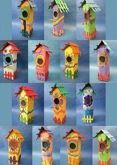 Birdhouses made of milk cartons