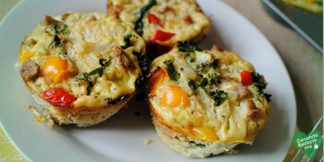 Eier Muffins mit Gemüse, low carb Diät rezept