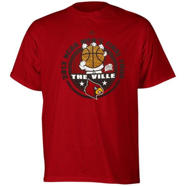adidas Louisville Cardinals 2013 Basketball Final Four Go Team T-Shirt - Red - $10.99