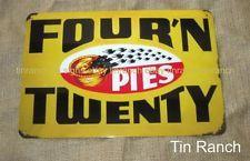AUSSIE MEAT PIE TIN SIGN Four n Twenty BLACKBIRDS vintage Advert Australian food