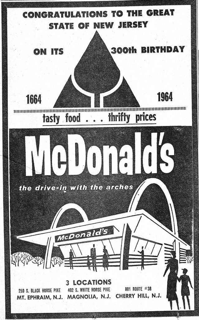 https://flic.kr/p/794jdN | McDonalds Ad 0564 | May, 1964 McDonald's ad celebrating New Jersey's 300th Birthday. These were the first McDonalds locations in this area.