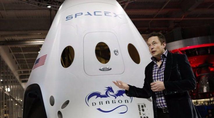 Elon Musk alongside his spacecraft Dragon
