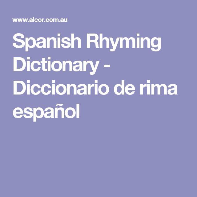 Spanish Rhyming Dictionary - Diccionario de rima español