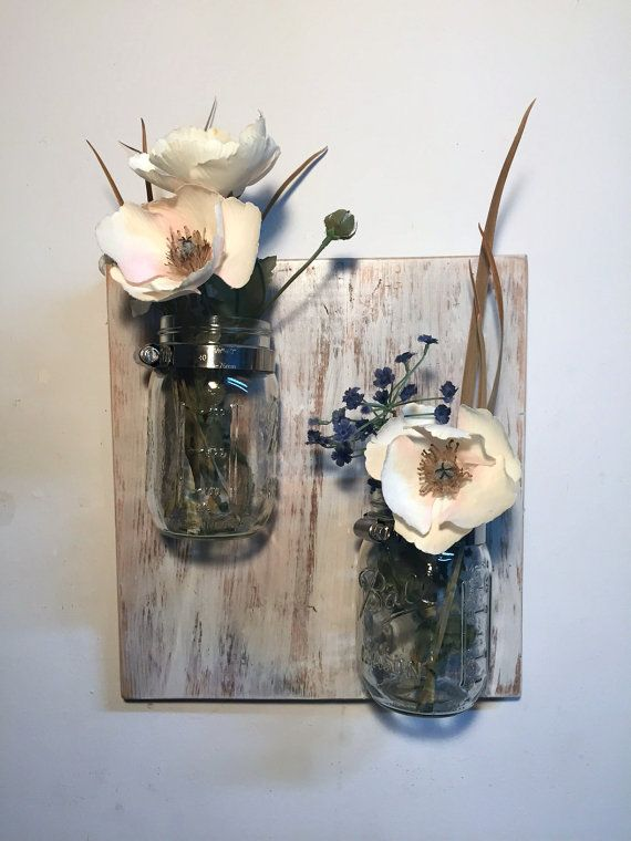 Shabby Mason Jar Sconce Mason Jar Vase Reclaimed Wood