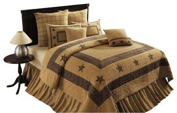 Burlap Star Bedskirt, King rustic-bedskirts