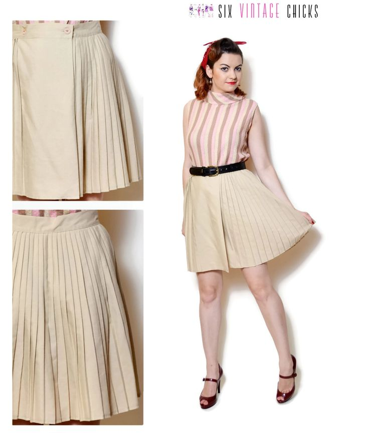 pleated skirt vintage high waisted women clothing mini skirt 80s clothing circle skirt beige boho chic gift for her 80s skirt pin up Retro L by SixVintageChicks on Etsy