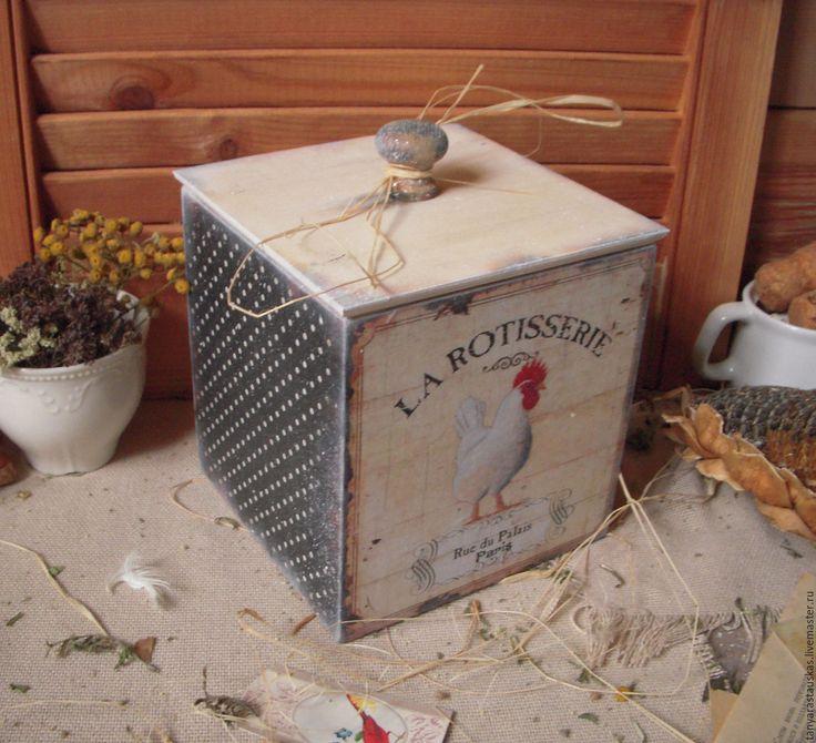 Купить «Год Петуха» , короб для дома, кухонный декор. - чёрно-белый, короб, короб для кухни