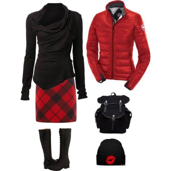 Красное и черное – юбка в клетку, свитер, сапоги, куртка, рюкзак, бини