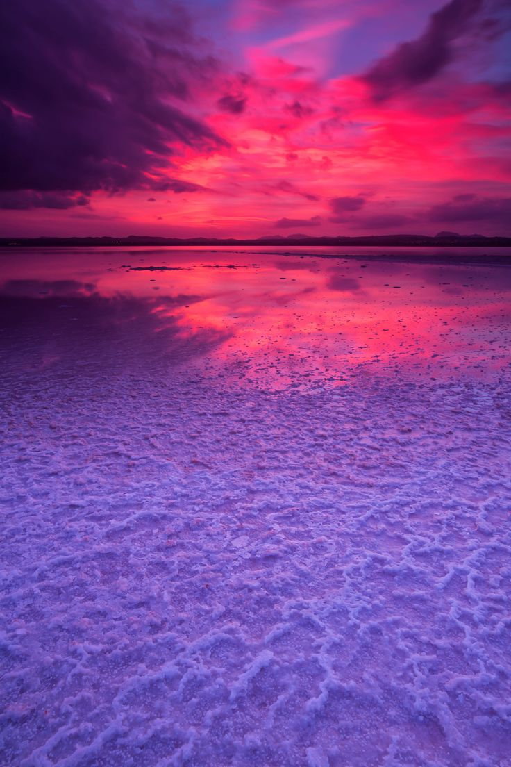 Purple hues in nature. Sunset over the Salt Lakes in Torrevieja, Costa Blanca, Spain