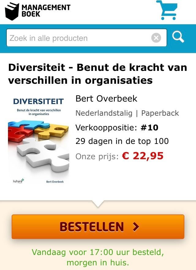 Super, het boek 'Diversiteit, benut de kracht van verschillen in organisaties' van Bert Overbeek staat vanaf vandaag in de top-10 van de Bestsellerlijst van Managementboek. #diversiteit #bertoverbeek #mgboeknl #futurouitgevers