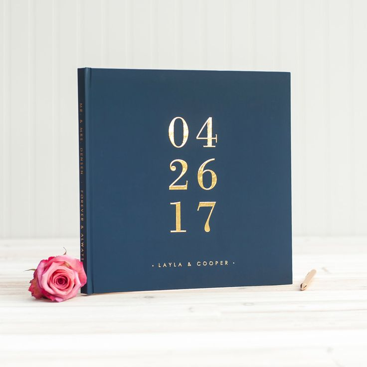 Navy and Gold Wedding Guest Book with Real Gold Foil guestbook 12x12 wedding album personalized instant photo wedding gift sign in hardcover by starboardpress on Etsy