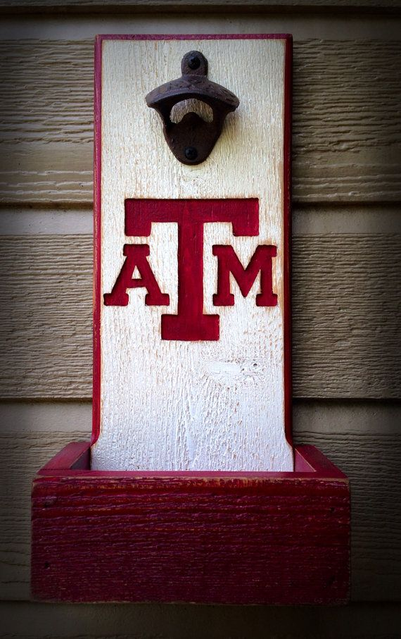 Texas A&M  bottle opener with cap catcher by TreyColeCreations, $40.00