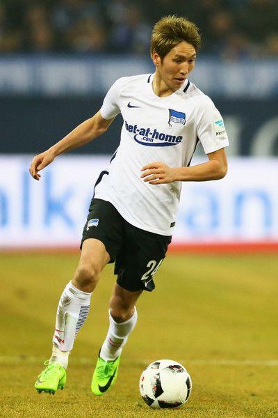 Genki Haraguchi of Hertha BSC in action during the Bundesliga match between FC Schalke 04 and Hertha Berliner Sport-Club at Veltins-Arena on February 11, 2017 in Gelsenkirchen, Germany.