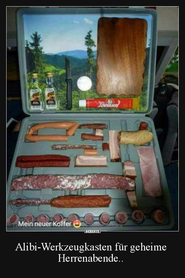 Alibi-Werkzeugkasten für geheime Herrenabende.. | Lustige Bilder, Sprüche, Witze, echt lustig