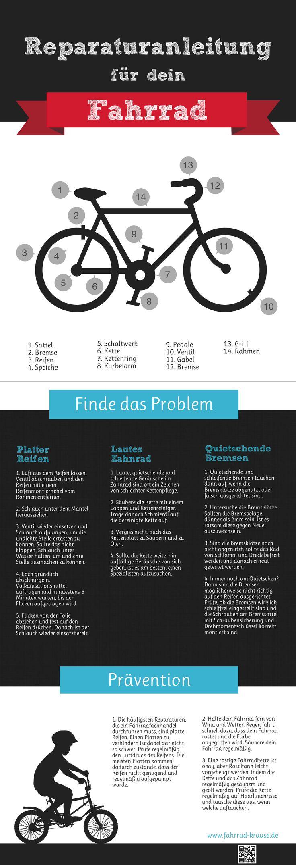 Reperaturanleitung für dein Fahrrad #Infografik #Fahrrad