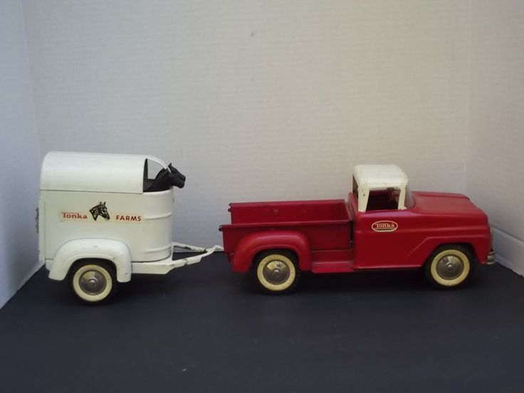 Vintage Toy Trucks Part - 34: Vintage Tonka Farms Red Pick Up Truck And Trailer With 2 Horses