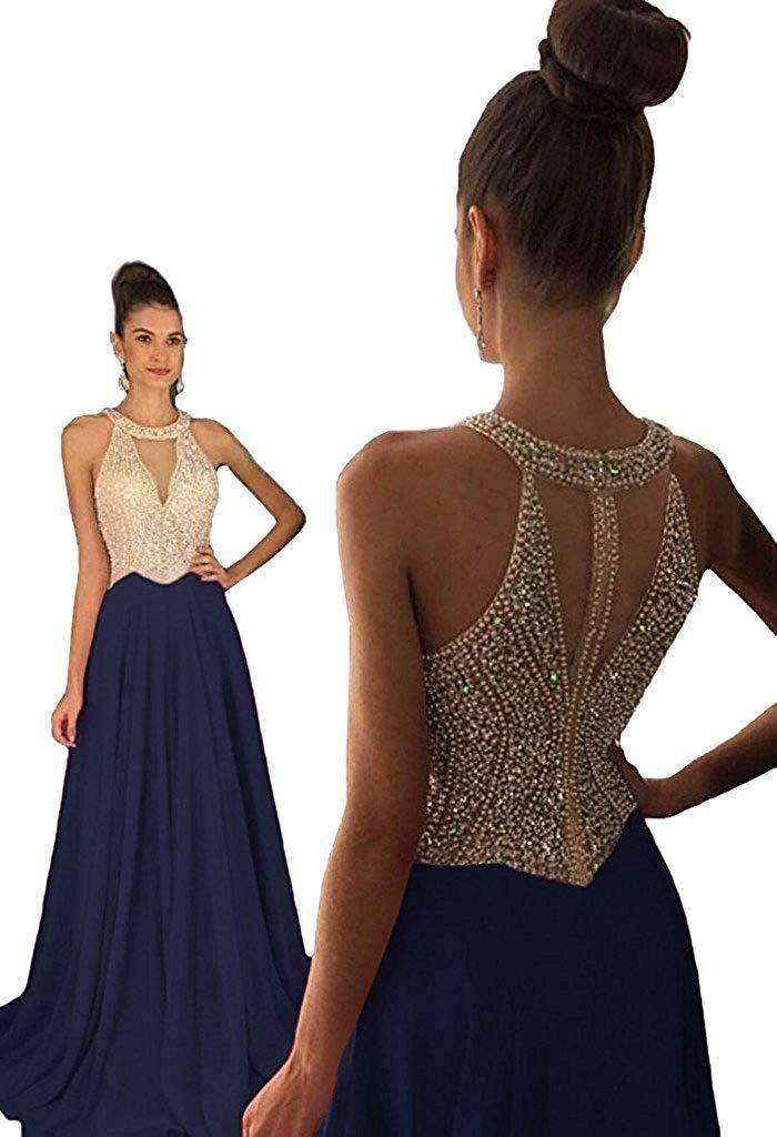39d1dacd0799 Jazylynbride A-line Long Chiffon Sequin Beading Prom Dress Formal Evening  Gown for Women