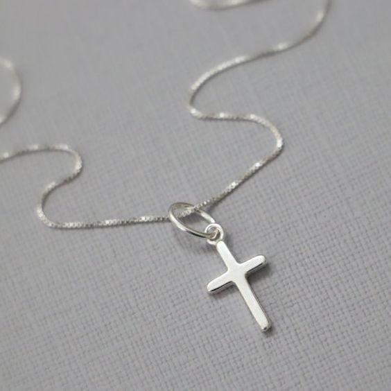 Silver Cross Necklace Sterling Silver Cross by alexandreasjewels