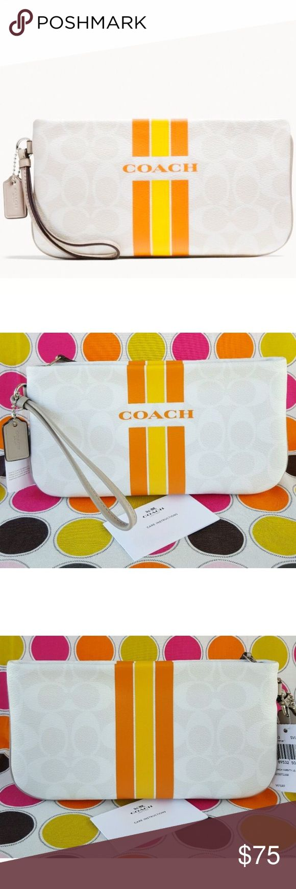NWT Large Coach Varsity zippered wristlet/wallet Gorgeous wristlet/ wallet! Perfect for all of your money, cars and cell phone! Beautiful spring like colors that can be worn casually or to a great event! Comes with the Coach box, tags, card cards and coach shopping bag. No trades thank you. Coach Bags Clutches & Wristlets