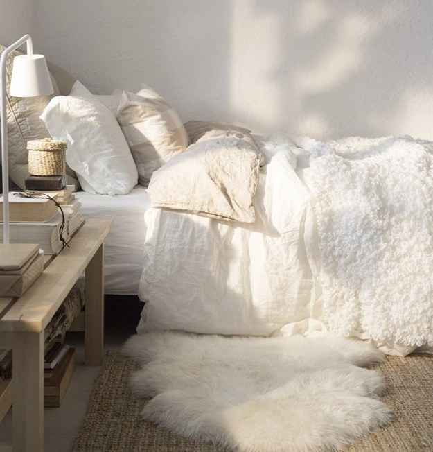 Throw down an extra fuzzy bedside rug to make things easier for your feet in the morning.: