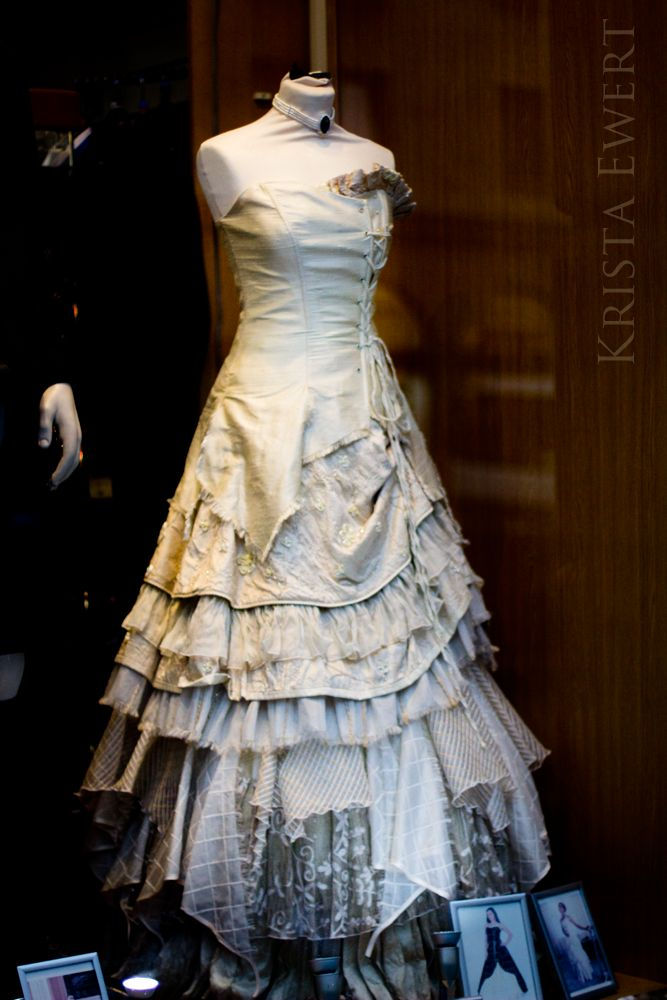 Vintage Scottish wedding gown, with a million different varieties of lace, perhaps from the gowns of family members' previously worn, sewn into the garment. In a store window,  Edinburgh, Scotland. Spectack!