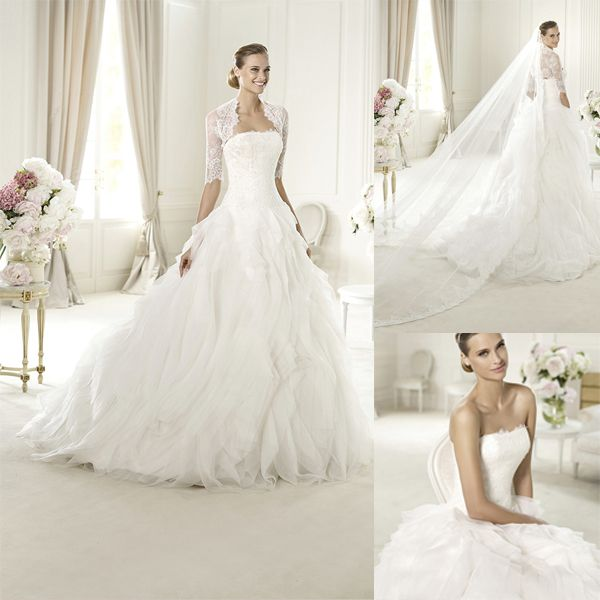 Hoge kwaliteit witte ronde a lijn organza ruches nieuwe ontwerp bruids jurken met kant wq272 jassen