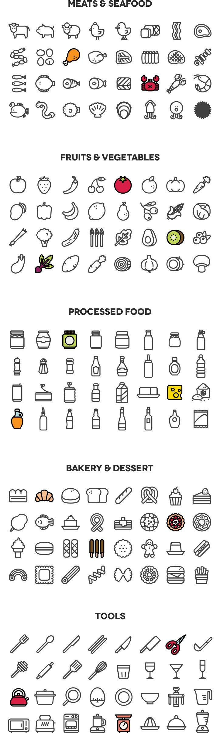 This is a set of 160 cooking line type icons, with solid and colored version.It is seperated into 5 parts; meat&seafood, fruits&vegetable, processed food, bakery&dessert, tools.Most icons are designed in 72x72px square, but some lean and long icons ar… | https://lomejordelaweb.es/