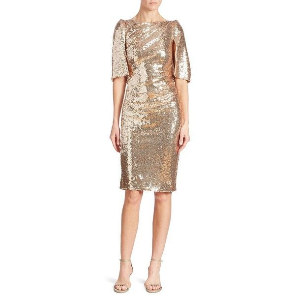 Talbot Runhof Sequin Cape Dress ($1,895) ❤ liked on Polyvore featuring dresses, nude, sleeved dresses, sequin sleeve dress, bateau neckline dress, slash neck dress and glamorous dresses