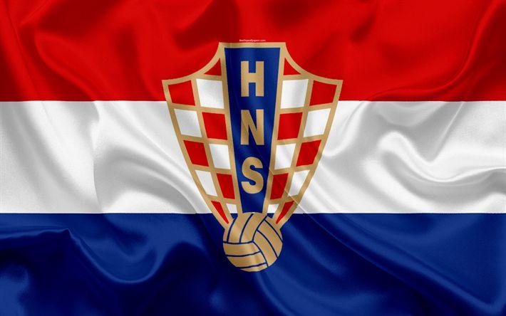 Download wallpapers Croatia national football team, emblem, logo, flag, Europe, flag of Croatia, football, World Cup