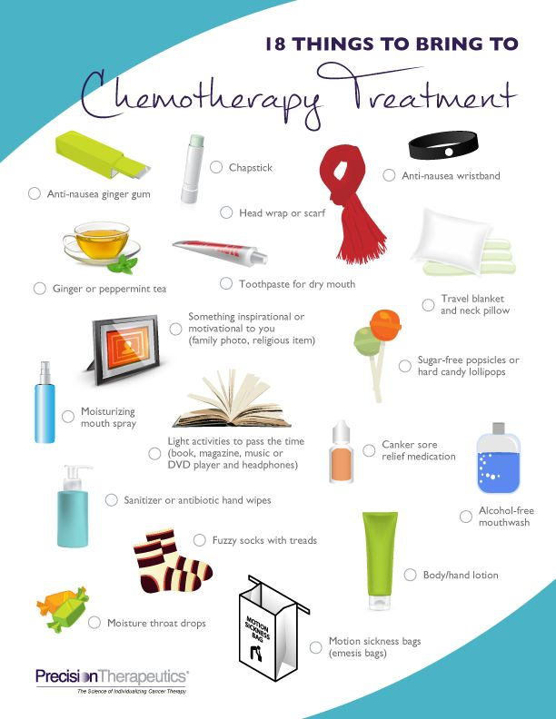 18 things to bring to Chemo Treatment to keep you comfortable.  Packing checklist for Chemo treatment - What to bring with you to chemotherapy