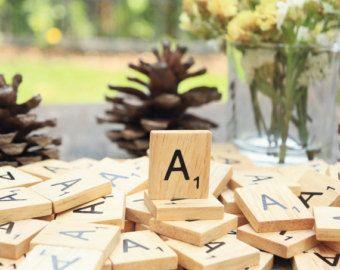 100 A azulejos del scrabble de madera del alfabeto A Negro letras de encargo del regalo para la joyería o azulejos de recambio Crafts
