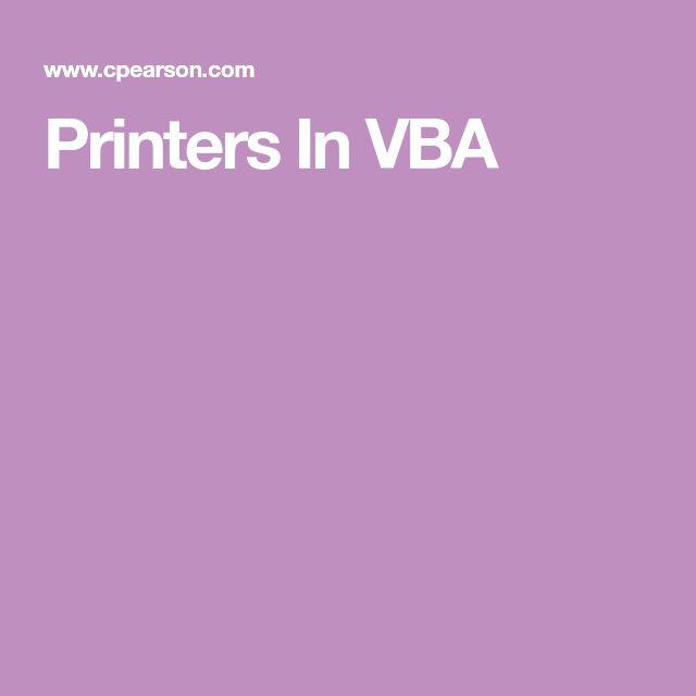 Printers In VBA