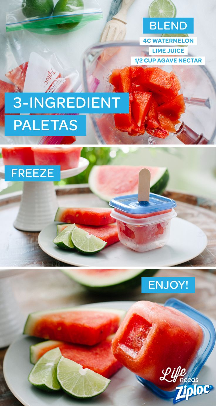 Refreshing fruit popsicles made with watermelon, lime, and agave nectar. So easy to make with Ziploc® extra small containers. Just make a small incision in the lid and add popsicle sticks! A healthier alternative to ice cream or other sweet summer desserts. Tip: leave the lid on the paletas after freezing for a built in drip catcher.