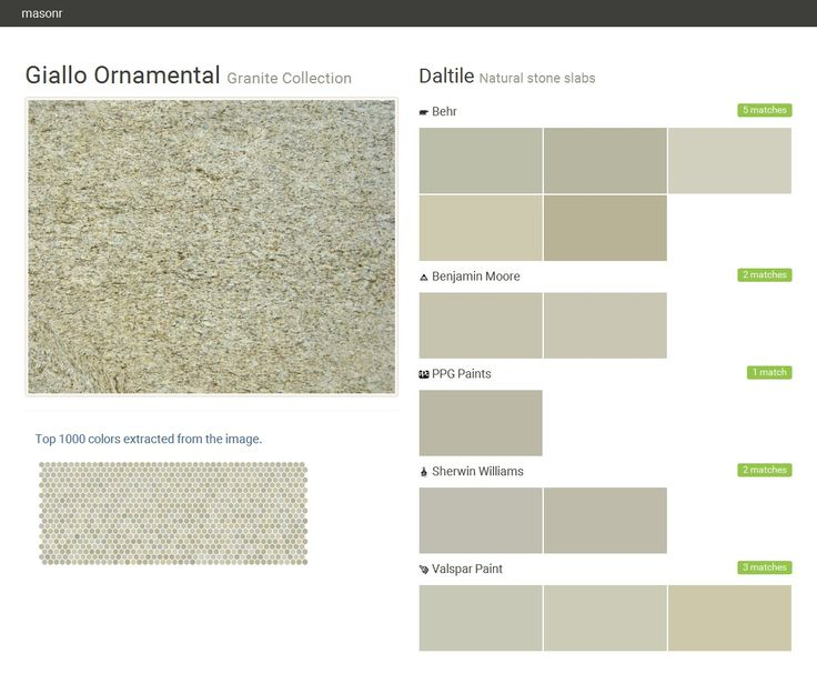 Giallo Ornamental. Granite Collection . Natural stone slabs. Daltile. Behr. Benjamin Moore. PPG Paints. Sherwin Williams. Valspar Paint.  Click the gray Visit button to see the matching paint names.