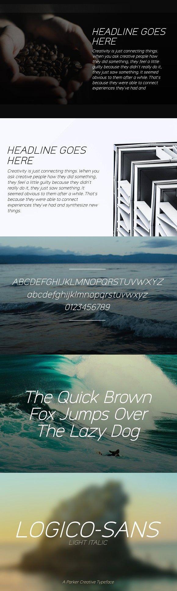 Logico-Sans Font - Light Italic. Professional Fonts