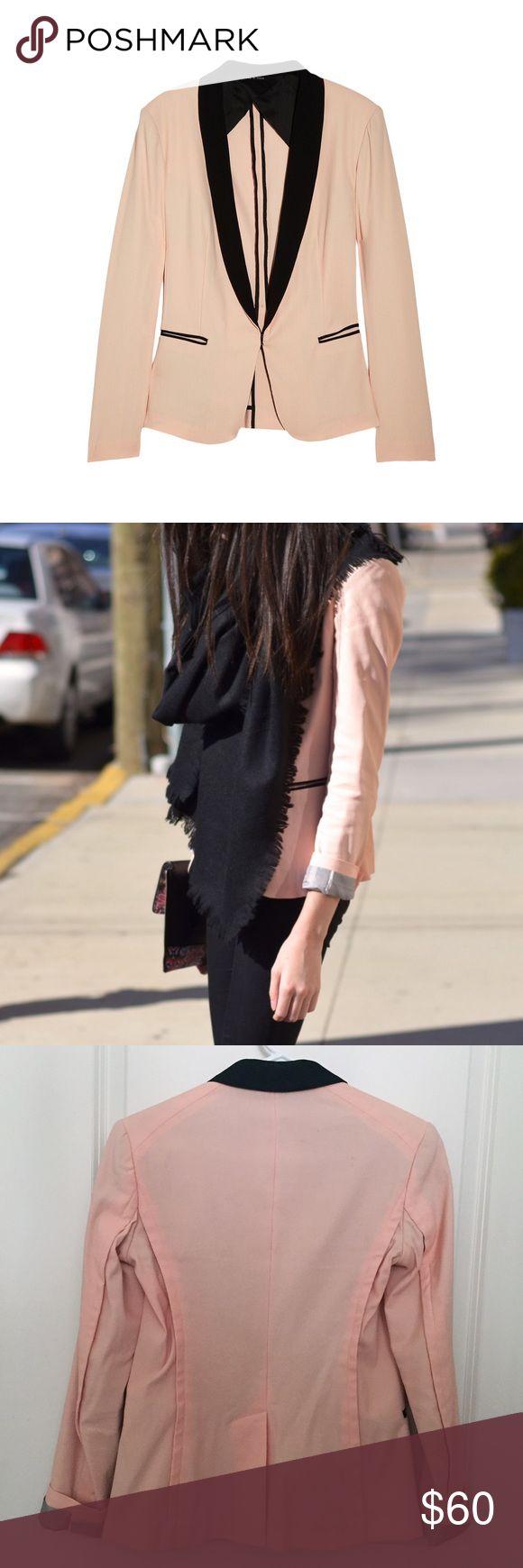 rag & bone peach blazer Peach cotton-blend pique blazer with black lapel and trims. Hook fastening and the front. Striped sleeve lining. rag & bone Jackets & Coats Blazers