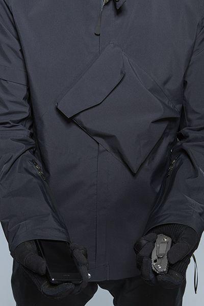 Jacket with slanted pocket detail; sewing idea; close up fashion design detail // Acronym