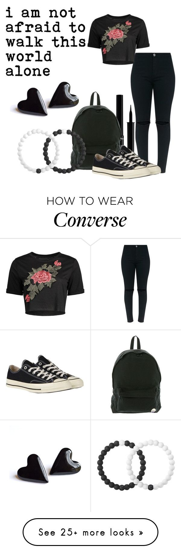 """""""Famous Last Words"""" by retrochic394 on Polyvore featuring Giorgio Armani, Roxy, Converse, Lokai and MollyMakesAlbums"""