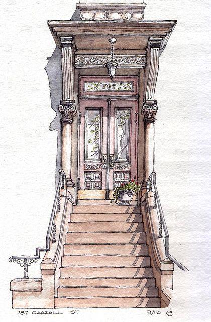 illustration, paint, door