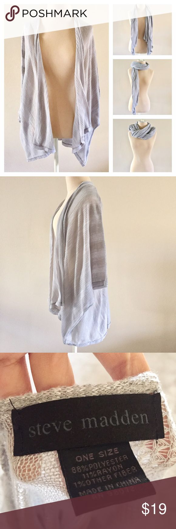 Steve Madden Cardigan and Scarf Who doesn't love convertible clothing items?? This gray and silver cardigan by Steve Madden doubles as a scarf (meant to be used for either option). One size. Great find! Steve Madden Sweaters Cardigans